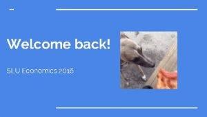 Welcome back SLU Economics 2016 Introducing the executive