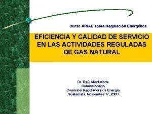 Curso ARIAE sobre Regulacin Energtica EFICIENCIA Y CALIDAD