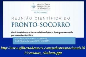 http www gilbertodenucci compalestrasnacionais 20 13ensaiosclinicos ppt Testes
