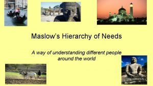 Maslows Hierarchy of Needs A way of understanding