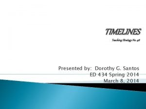 TIMELINES Teaching Strategy No 46 Presented by Dorothy