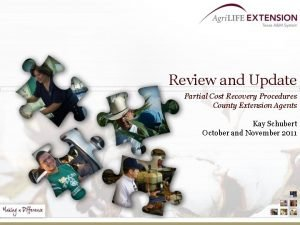Review and Update Partial Cost Recovery Procedures County