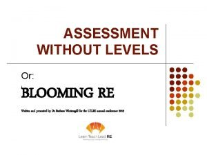 ASSESSMENT WITHOUT LEVELS Or BLOOMING RE Written and