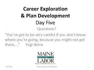 Career Exploration Plan Development Day Five Questions Youve