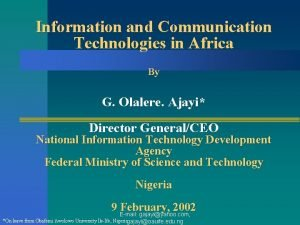Information and Communication Technologies in Africa By G