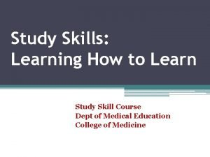 Study Skills Learning How to Learn Study Skill