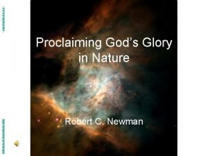 Abstracts of Powerpoint Talks Proclaiming Gods Glory in