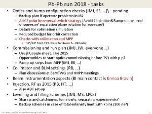 PbPb run 2018 tasks Optics and bump configuration