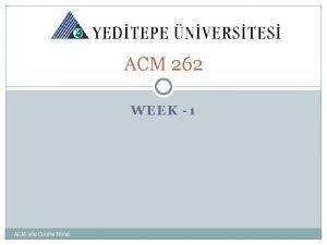 ACM 262 WEEK 1 ACM 262 Course Notes