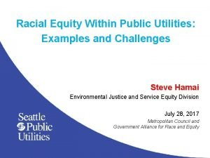 Racial Equity Within Public Utilities Examples and Challenges