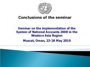 Conclusions of the seminar Seminar on the implementation
