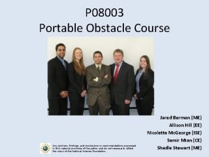 P 08003 Portable Obstacle Course Any opinions findings