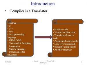 Introduction Compiler is a Translator Fortran C Java