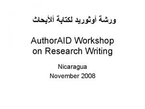 Author AID Workshop on Research Writing Nicaragua November