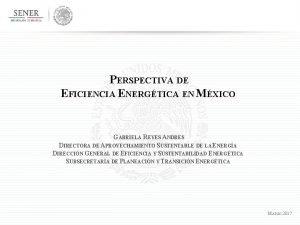 PERSPECTIVA DE EFICIENCIA ENERGTICA EN MXICO GABRIELA REYES