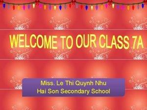 Miss Le Thi Quynh Nhu Hai Son Secondary