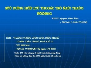 S DUNG HP LY THUOC TR AI THAO