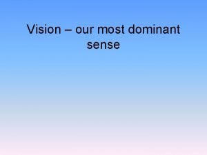 Vision our most dominant sense Vision Purpose of