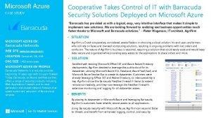Microsoft Azure CASE STUDY Cooperative Takes Control of