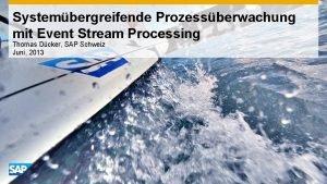 Systembergreifende Prozessberwachung mit Event Stream Processing Thomas Dcker