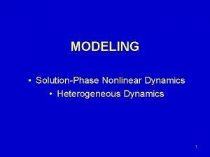 MODELING SolutionPhase Nonlinear Dynamics Heterogeneous Dynamics 1 Brief