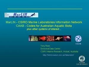 Mar LIN CSIRO Marine Laboratories Information Network CAAB