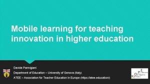 Mobile learning for teaching innovation in higher education