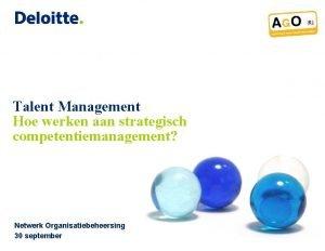 Talent Management Hoe werken aan strategisch competentiemanagement Netwerk