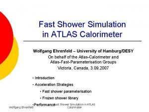 Fast Shower Simulation in ATLAS Calorimeter Wolfgang Ehrenfeld