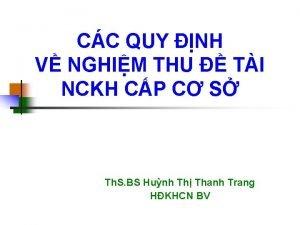 CC QUY NH V NGHIM THU TI NCKH
