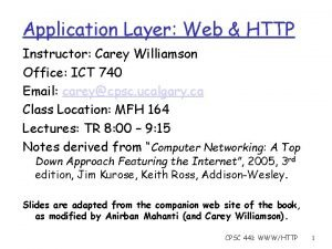 Application Layer Web HTTP Instructor Carey Williamson Office