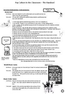 Pop Culture in the Classroom The Handout Pop