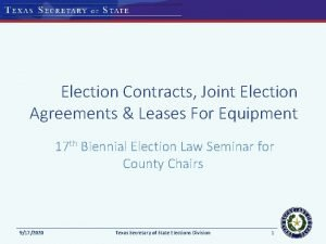 Election Contracts Joint Election Agreements Leases For Equipment
