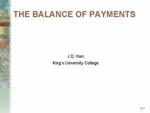 THE BALANCE OF PAYMENTS J D Han Kings