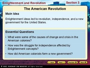 Enlightenment and Revolution Section 3 The American Revolution
