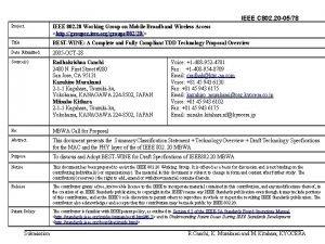 IEEE C 802 20 0578 Project IEEE 802