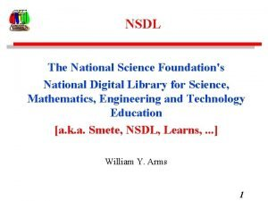 NSDL The National Science Foundations National Digital Library