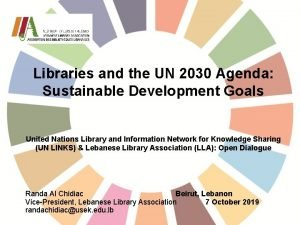 Libraries and the UN 2030 Agenda Sustainable Development