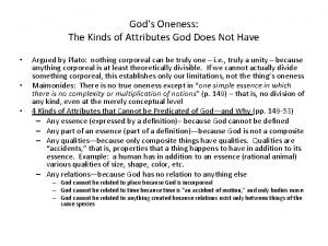 Gods Oneness The Kinds of Attributes God Does