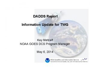 DADDS Report Information Update for TWG Kay Metcalf