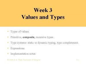 Week 3 Values and Types Types of values