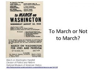 To March or Not to March March on