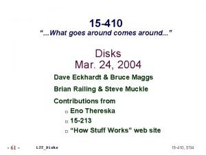 15 410 What goes around comes around Disks