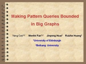 Making Pattern Queries Bounded in Big Graphs Yang