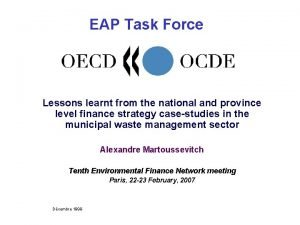 EAP Task Force Lessons learnt from the national