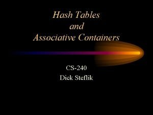 Hash Tables and Associative Containers CS240 Dick Steflik
