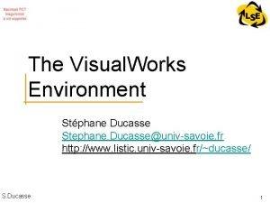 The Visual Works Environment Stphane Ducasse Stephane Ducasseunivsavoie