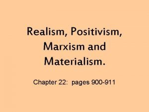 Realism Positivism Marxism and Materialism Chapter 22 pages