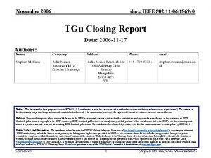 November 2006 doc IEEE 802 11 061869 r