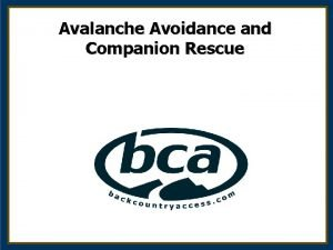 Avalanche Avoidance and Companion Rescue Outline Whos at